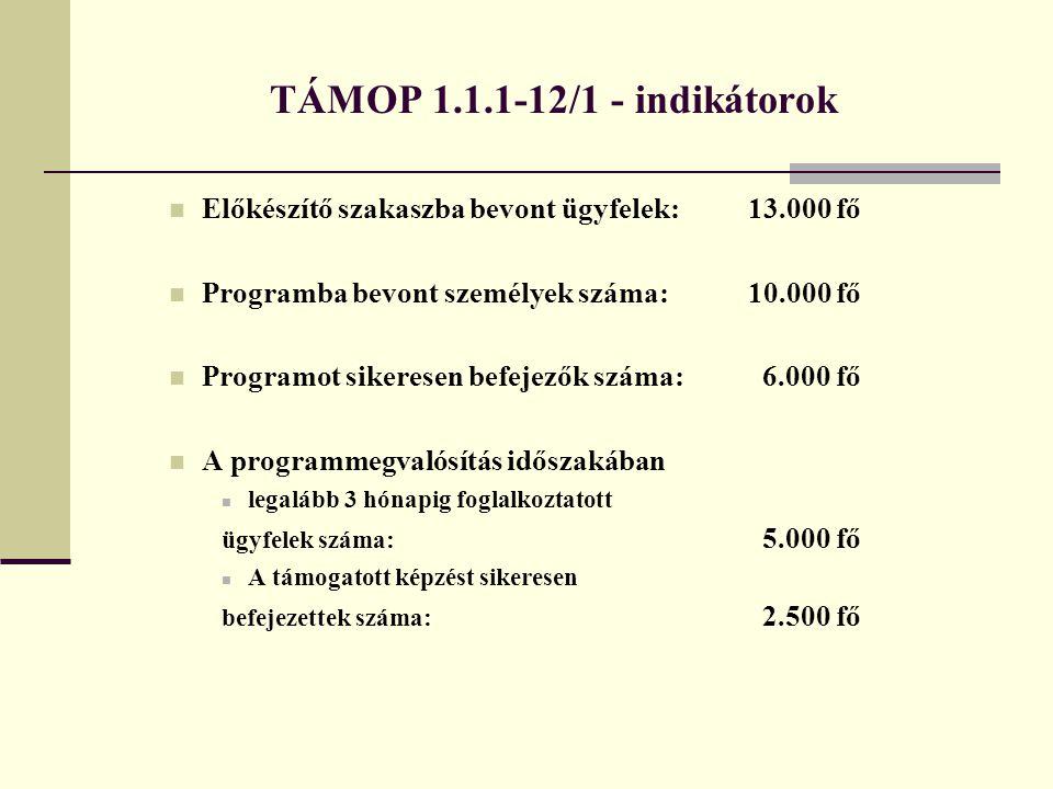 TÁMOP 1.1.1-12/1 - indikátorok Előkészítő szakaszba bevont ügyfelek:13.000 fő Programba bevont személyek száma:10.000 fő Programot sikeresen befejezők