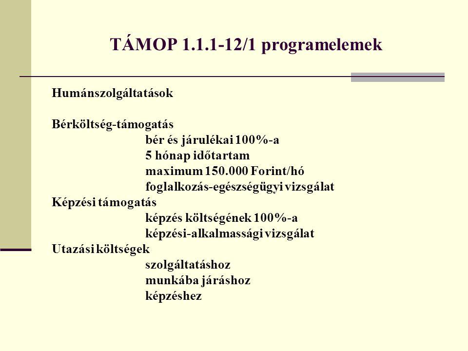 TÁMOP 1.1.1-12/1 programelemek Humánszolgáltatások Bérköltség-támogatás bér és járulékai 100%-a 5 hónap időtartam maximum 150.000 Forint/hó foglalkozá