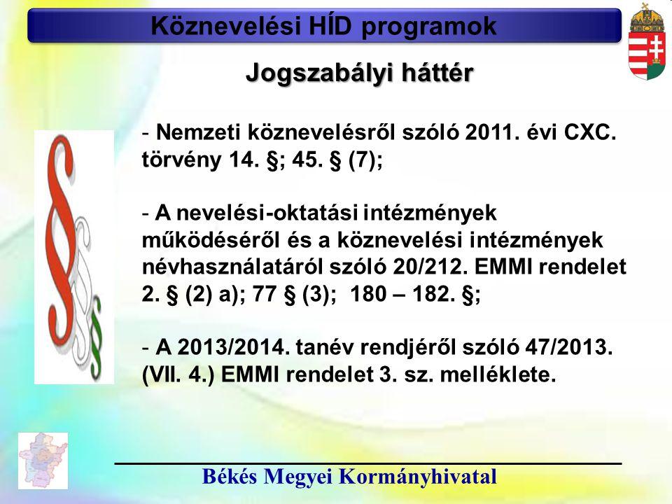 10 Békés Megyei Kormányhivatal Köznevelési HÍD programok Jogszabályi háttér - Nemzeti köznevelésről szóló 2011. évi CXC. törvény 14. §; 45. § (7); - A