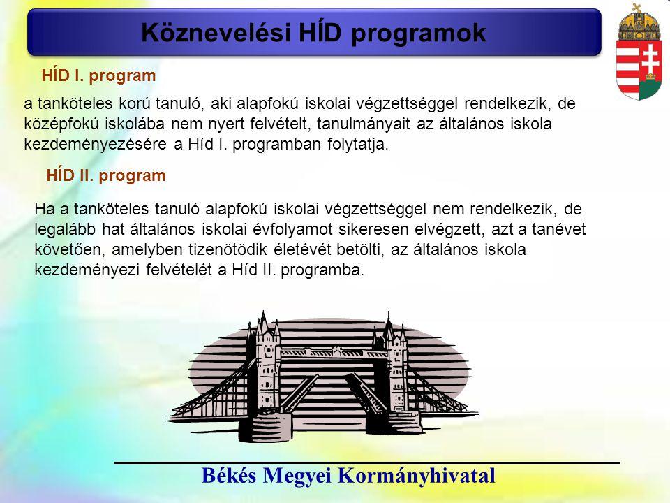 11 Békés Megyei Kormányhivatal Köznevelési HÍD programok HÍD I. program a tanköteles korú tanuló, aki alapfokú iskolai végzettséggel rendelkezik, de k