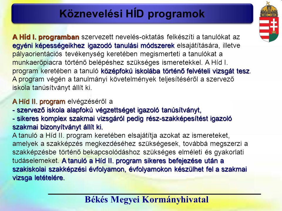 12 Békés Megyei Kormányhivatal Köznevelési HÍD programok A Híd II. program A Híd II. program elvégzéséről a - szervező iskola alapfokú végzettséget ig