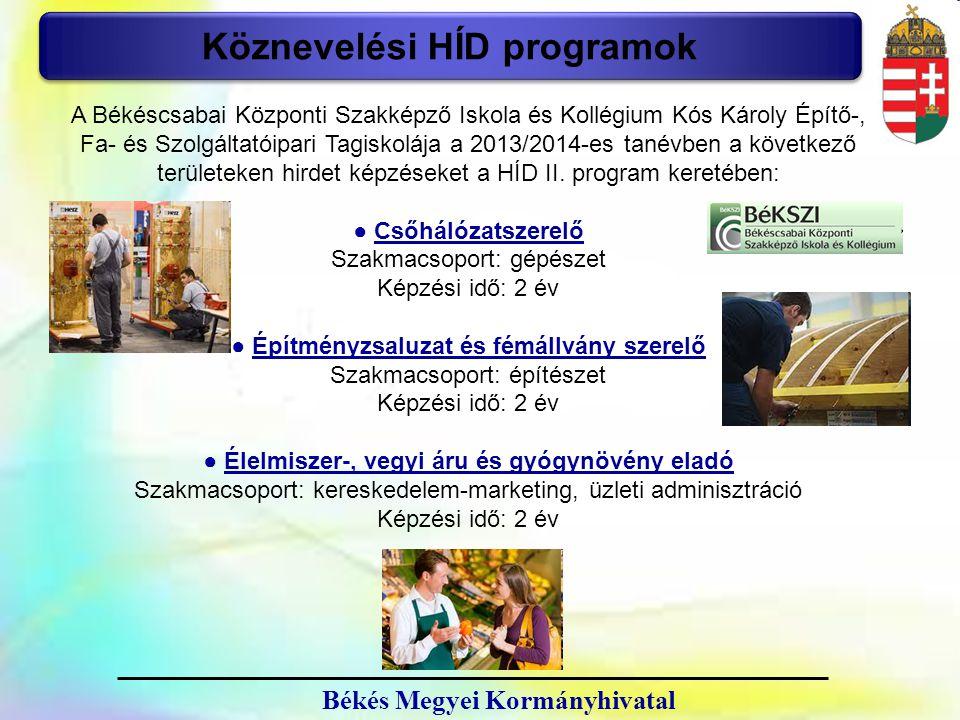 23 Köznevelési HÍD programok A Békéscsabai Központi Szakképző Iskola és Kollégium Kós Károly Építő-, Fa- és Szolgáltatóipari Tagiskolája a 2013/2014-e