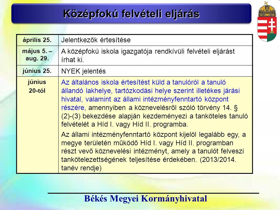 3 Békés Megyei Kormányhivatal Középfokú felvételi eljárás április 25. Jelentkezők értesítése május 5. – aug. 29. A középfokú iskola igazgatója rendkív