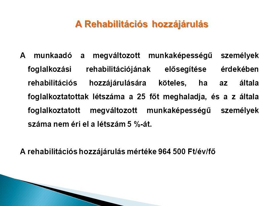 A Rehabilitációs hozzájárulás A munkaadó a megváltozott munkaképességű személyek foglalkozási rehabilitációjának elősegítése érdekében rehabilitációs