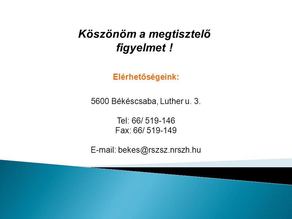 Elérhetőségeink: 5600 Békéscsaba, Luther u. 3. Tel: 66/ 519-146 Fax: 66/ 519-149 E-mail: bekes@rszsz.nrszh.hu Köszönöm a megtisztelő figyelmet !
