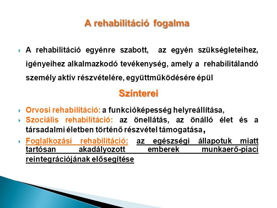 A rehabilitáció fogalma  A rehabilitáció egyénre szabott, az egyén szükségleteihez, igényeihez alkalmazkodó tevékenység, amely a rehabilitálandó szem