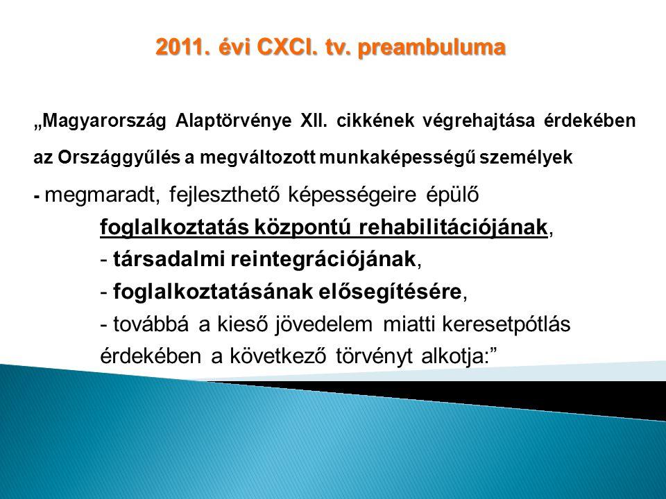 """2011. évi CXCI. tv. preambuluma """" Magyarország Alaptörvénye XII. cikkének végrehajtása érdekében az Országgyűlés a megváltozott munkaképességű személy"""