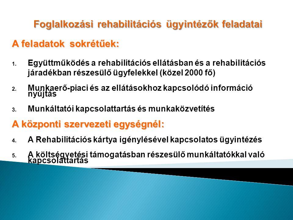 A feladatok sokrétűek: 1. Együttműködés a rehabilitációs ellátásban és a rehabilitációs járadékban részesülő ügyfelekkel (közel 2000 fő) 2. Munkaerő-p