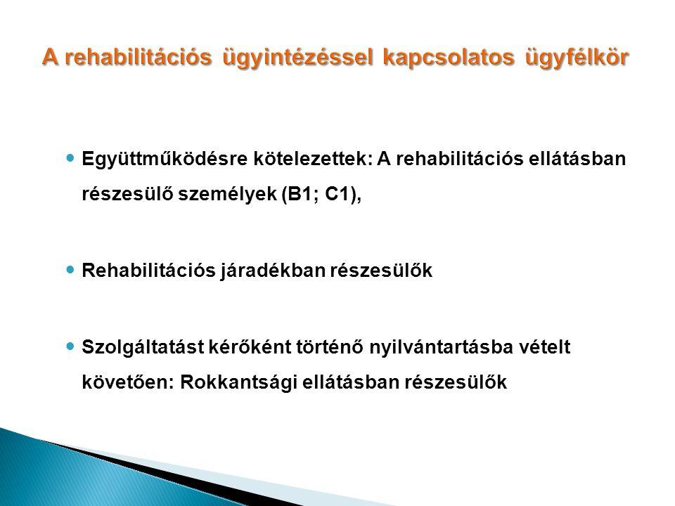A rehabilitációs ügyintézéssel kapcsolatos ügyfélkör Együttműködésre kötelezettek: A rehabilitációs ellátásban részesülő személyek (B1; C1), Rehabilit