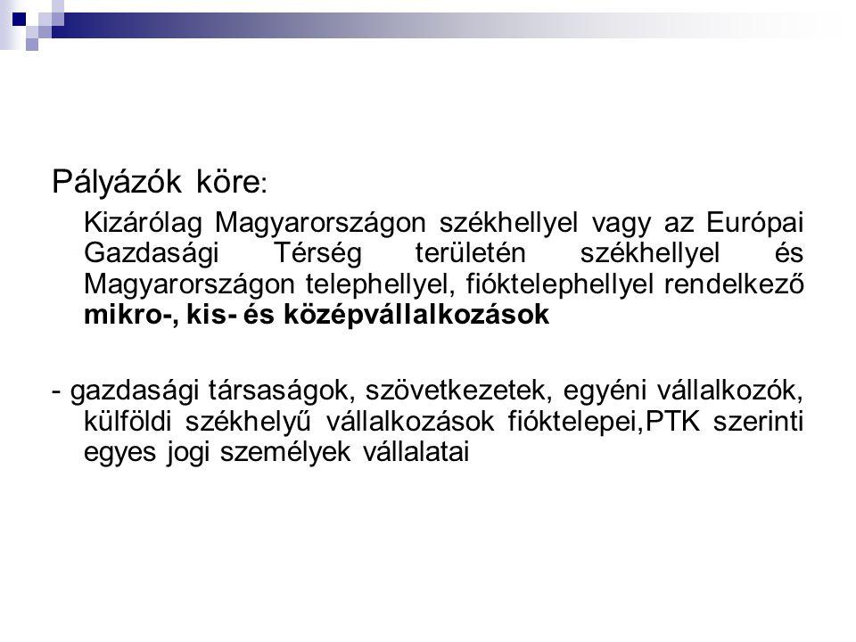 Pályázók köre : Kizárólag Magyarországon székhellyel vagy az Európai Gazdasági Térség területén székhellyel és Magyarországon telephellyel, fiókteleph