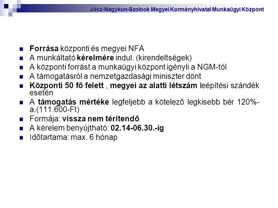 Forrása központi és megyei NFA A munkáltató kérelmére indul. (kirendeltségek) A központi forrást a munkaügyi központ igényli a NGM-tól A támogatásról