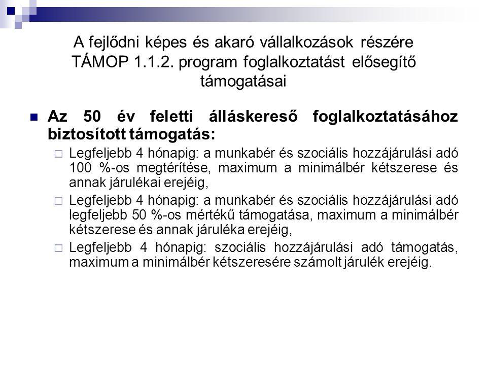 A fejlődni képes és akaró vállalkozások részére TÁMOP 1.1.2. program foglalkoztatást elősegítő támogatásai Az 50 év feletti álláskereső foglalkoztatás
