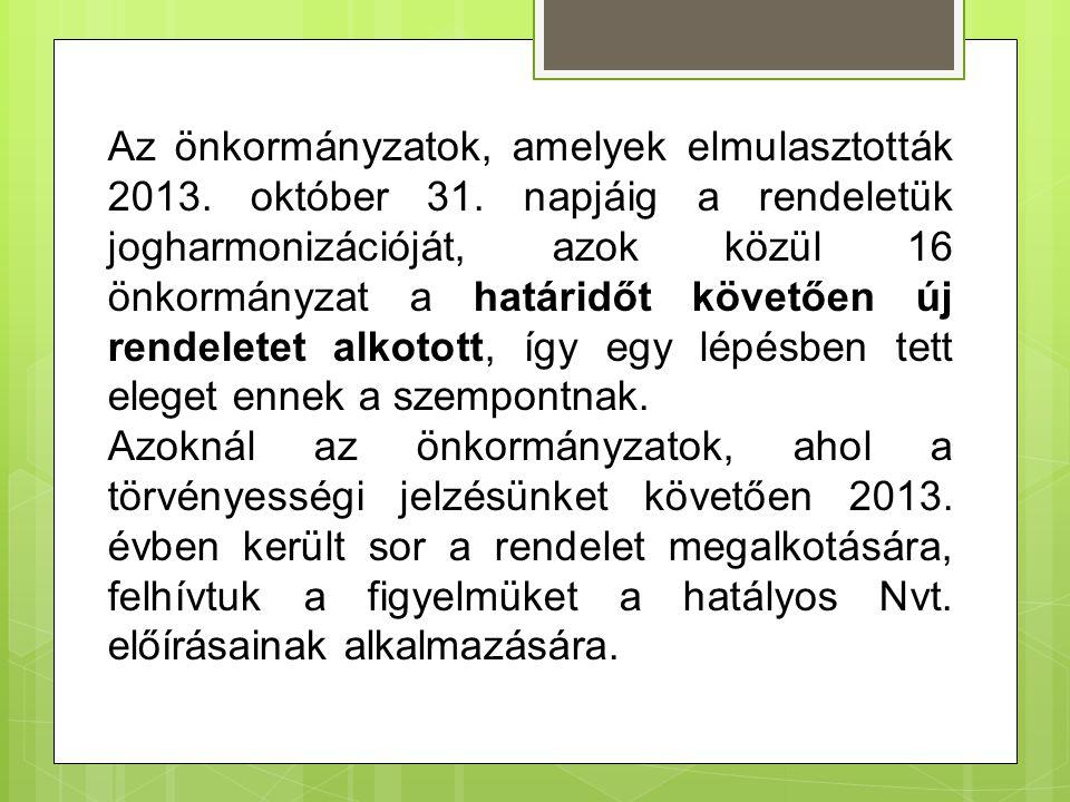 Az önkormányzatok, amelyek elmulasztották 2013.október 31.