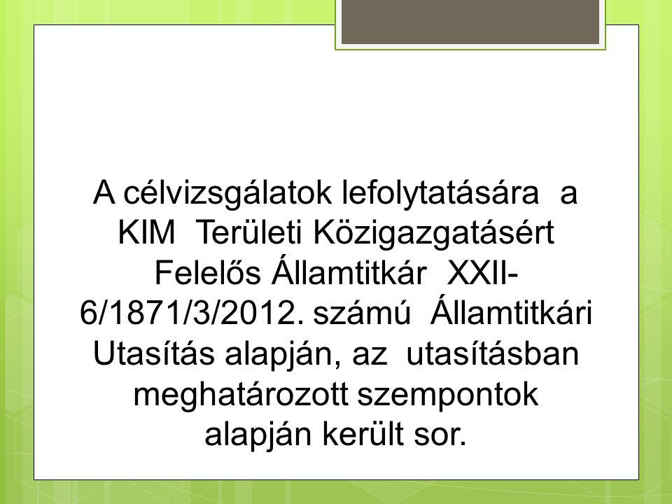 A célvizsgálatok lefolytatására a KIM Területi Közigazgatásért Felelős Államtitkár XXII- 6/1871/3/2012.