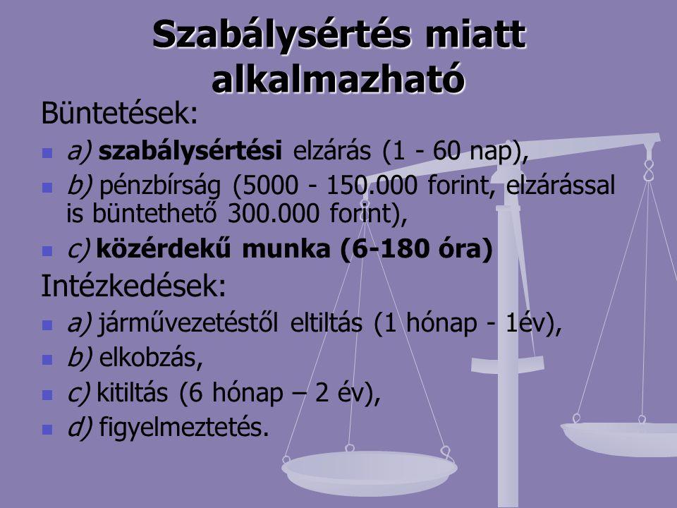 Szabálysértés miatt alkalmazható Büntetések: a) szabálysértési elzárás (1 - 60 nap), b) pénzbírság (5000 - 150.000 forint, elzárással is büntethető 30