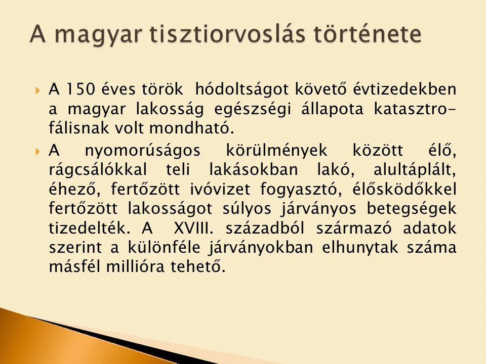  A helyzet súlyosságát felismerve a Magyar Királyi Helytartótanács 1724-ben arra kötelezte a megyéket és a jelentősebb városokat, hogy fizetett orvosokat alkalmazzanak a szegény betegek ingyenes gyógyítására, és néhány járványügyi feladat ellátására.