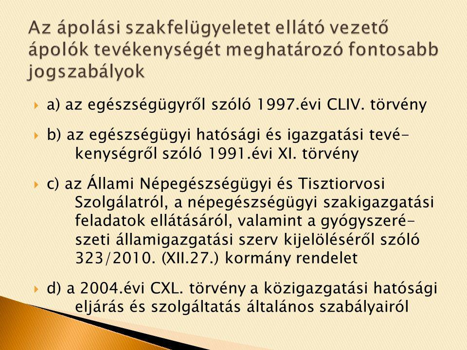  a) az egészségügyről szóló 1997.évi CLIV.