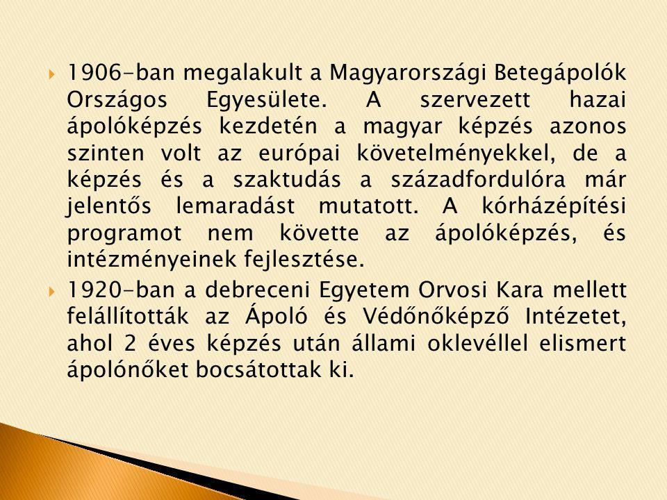  1906-ban megalakult a Magyarországi Betegápolók Országos Egyesülete.