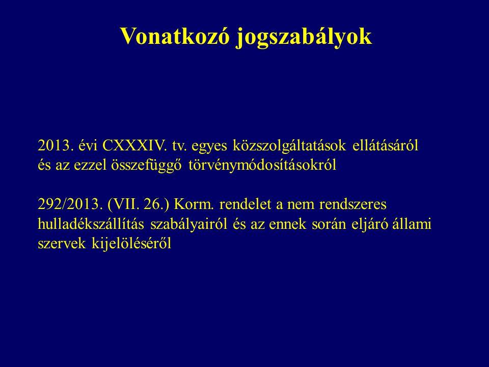 Vonatkozó jogszabályok 2013. évi CXXXIV. tv. egyes közszolgáltatások ellátásáról és az ezzel összefüggő törvénymódosításokról 292/2013. (VII. 26.) Kor