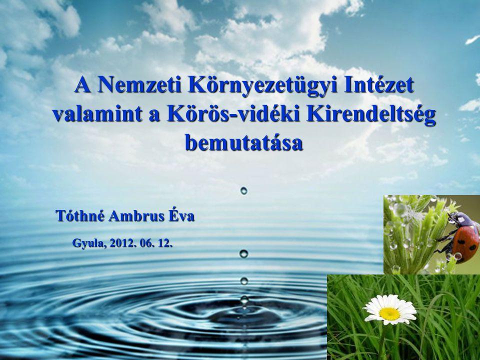 A Nemzeti Környezetügyi Intézet valamint a Körös-vidéki Kirendeltség bemutatása Tóthné Ambrus Éva Gyula, 2012.