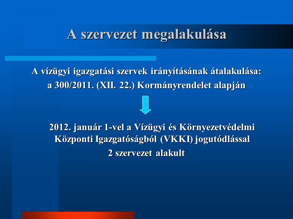 A szervezet megalakulása A vízügyi igazgatási szervek irányításának átalakulása: a 300/2011.