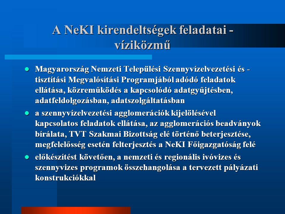 A NeKI kirendeltségek feladatai - víziközmű Magyarország Nemzeti Települési Szennyvízelvezetési és - tisztítási Megvalósítási Programjából adódó feladatok ellátása, közreműködés a kapcsolódó adatgyűjtésben, adatfeldolgozásban, adatszolgáltatásban Magyarország Nemzeti Települési Szennyvízelvezetési és - tisztítási Megvalósítási Programjából adódó feladatok ellátása, közreműködés a kapcsolódó adatgyűjtésben, adatfeldolgozásban, adatszolgáltatásban a szennyvízelvezetési agglomerációk kijelölésével kapcsolatos feladatok ellátása, az agglomerációs beadványok bírálata, TVT Szakmai Bizottság elé történő beterjesztése, megfelelősség esetén felterjesztés a NeKI Főigazgatóság felé a szennyvízelvezetési agglomerációk kijelölésével kapcsolatos feladatok ellátása, az agglomerációs beadványok bírálata, TVT Szakmai Bizottság elé történő beterjesztése, megfelelősség esetén felterjesztés a NeKI Főigazgatóság felé előkészítést követően, a nemzeti és regionális ivóvizes és szennyvizes programok összehangolása a tervezett pályázati konstrukciókkal előkészítést követően, a nemzeti és regionális ivóvizes és szennyvizes programok összehangolása a tervezett pályázati konstrukciókkal
