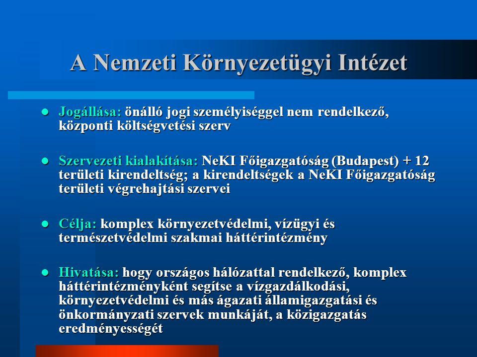 A Nemzeti Környezetügyi Intézet Jogállása: önálló jogi személyiséggel nem rendelkező, központi költségvetési szerv Jogállása: önálló jogi személyiséggel nem rendelkező, központi költségvetési szerv Szervezeti kialakítása: NeKI Főigazgatóság (Budapest) + 12 területi kirendeltség; a kirendeltségek a NeKI Főigazgatóság területi végrehajtási szervei Szervezeti kialakítása: NeKI Főigazgatóság (Budapest) + 12 területi kirendeltség; a kirendeltségek a NeKI Főigazgatóság területi végrehajtási szervei Célja: komplex környezetvédelmi, vízügyi és természetvédelmi szakmai háttérintézmény Célja: komplex környezetvédelmi, vízügyi és természetvédelmi szakmai háttérintézmény Hivatása: hogy országos hálózattal rendelkező, komplex háttérintézményként segítse a vízgazdálkodási, környezetvédelmi és más ágazati államigazgatási és önkormányzati szervek munkáját, a közigazgatás eredményességét Hivatása: hogy országos hálózattal rendelkező, komplex háttérintézményként segítse a vízgazdálkodási, környezetvédelmi és más ágazati államigazgatási és önkormányzati szervek munkáját, a közigazgatás eredményességét