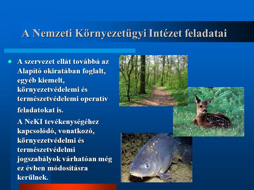 A Nemzeti Környezetügyi Intézet feladatai A szervezet ellát továbbá az Alapító okiratában foglalt, egyéb kiemelt, környezetvédelemi és természetvédelemi operatív feladatokat is.