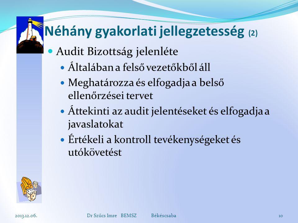 Néhány gyakorlati jellegzetesség (2) Audit Bizottság jelenléte Általában a felső vezetőkből áll Meghatározza és elfogadja a belső ellenőrzései tervet