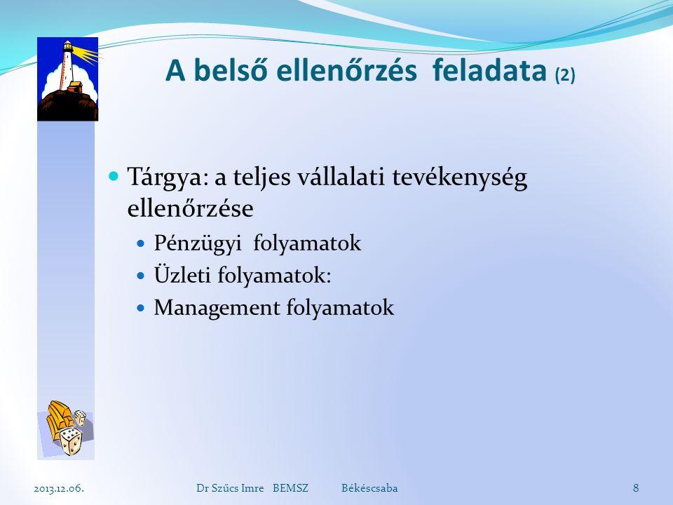A belső ellenőrzés feladata (2) Tárgya: a teljes vállalati tevékenység ellenőrzése Pénzügyi folyamatok Üzleti folyamatok: Management folyamatok 2013.1
