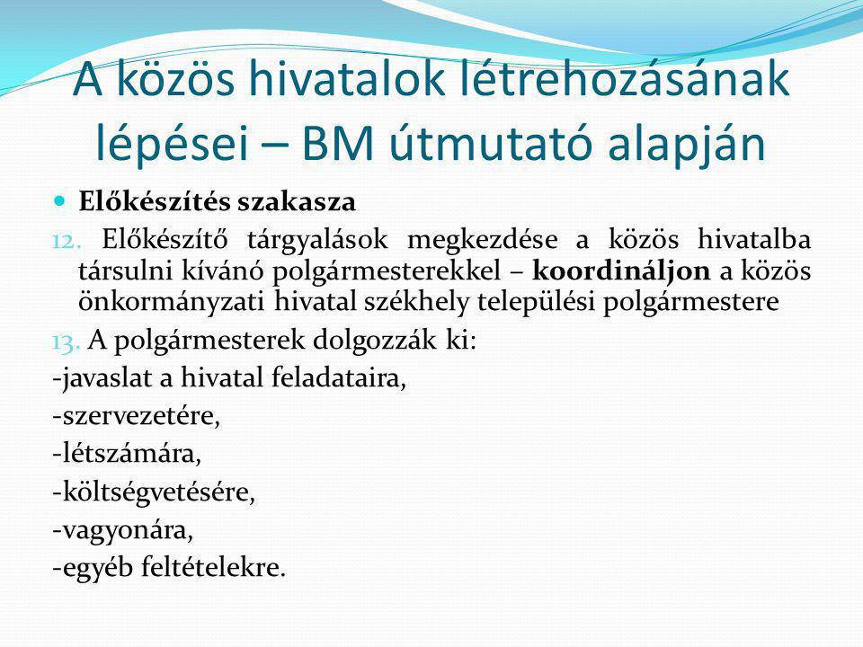 A közös hivatalok létrehozásának lépései – BM útmutató alapján Előkészítés szakasza 12.