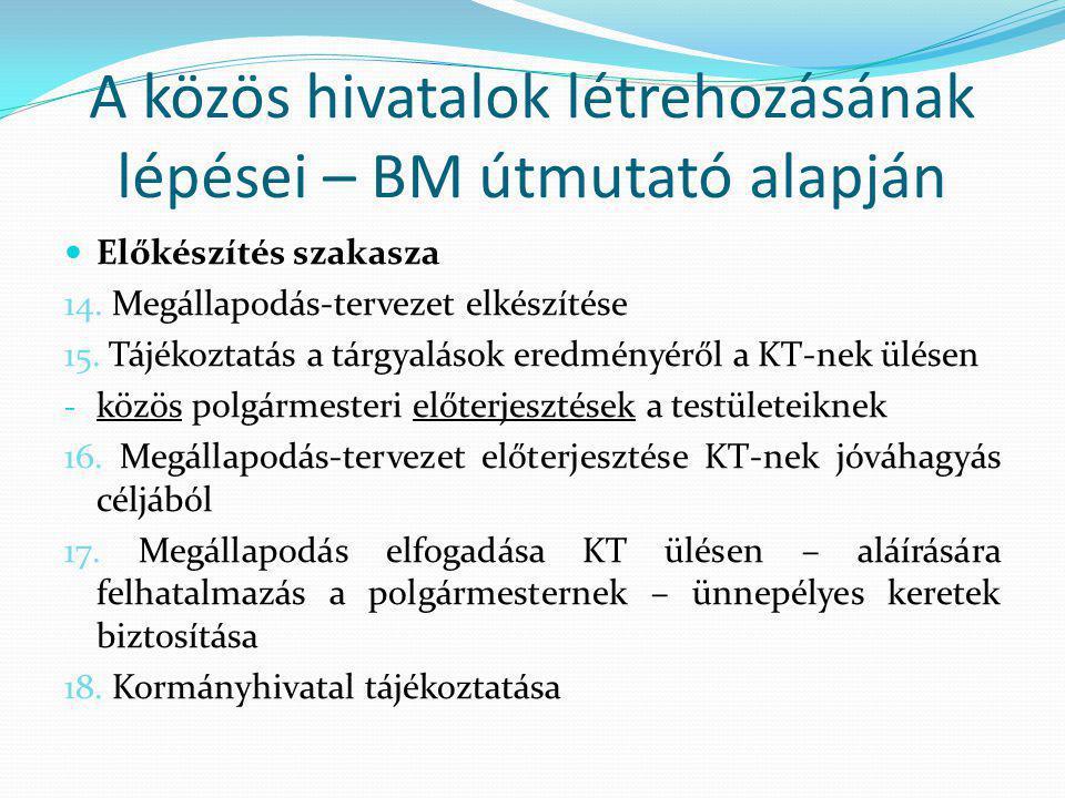 A közös hivatalok létrehozásának lépései – BM útmutató alapján Előkészítés szakasza 14.