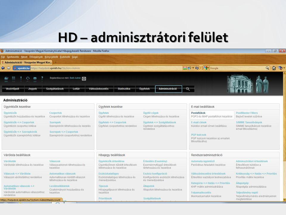 HD – adminisztrátori felület