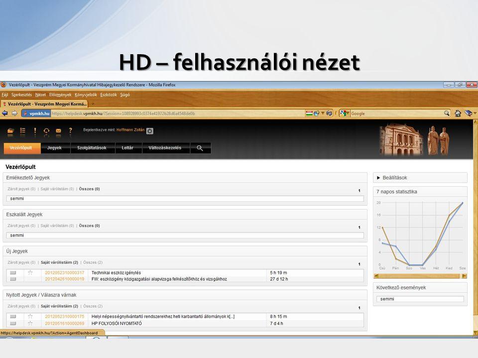 HD – felhasználói nézet