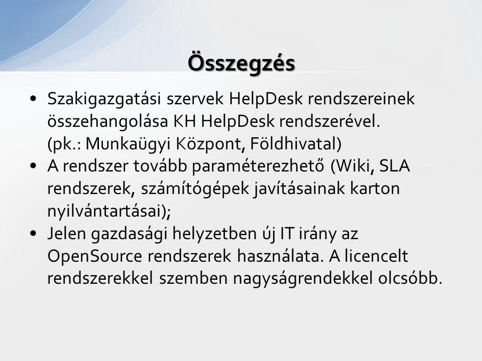 Szakigazgatási szervek HelpDesk rendszereinek összehangolása KH HelpDesk rendszerével. (pk.: Munkaügyi Központ, Földhivatal) A rendszer tovább paramét