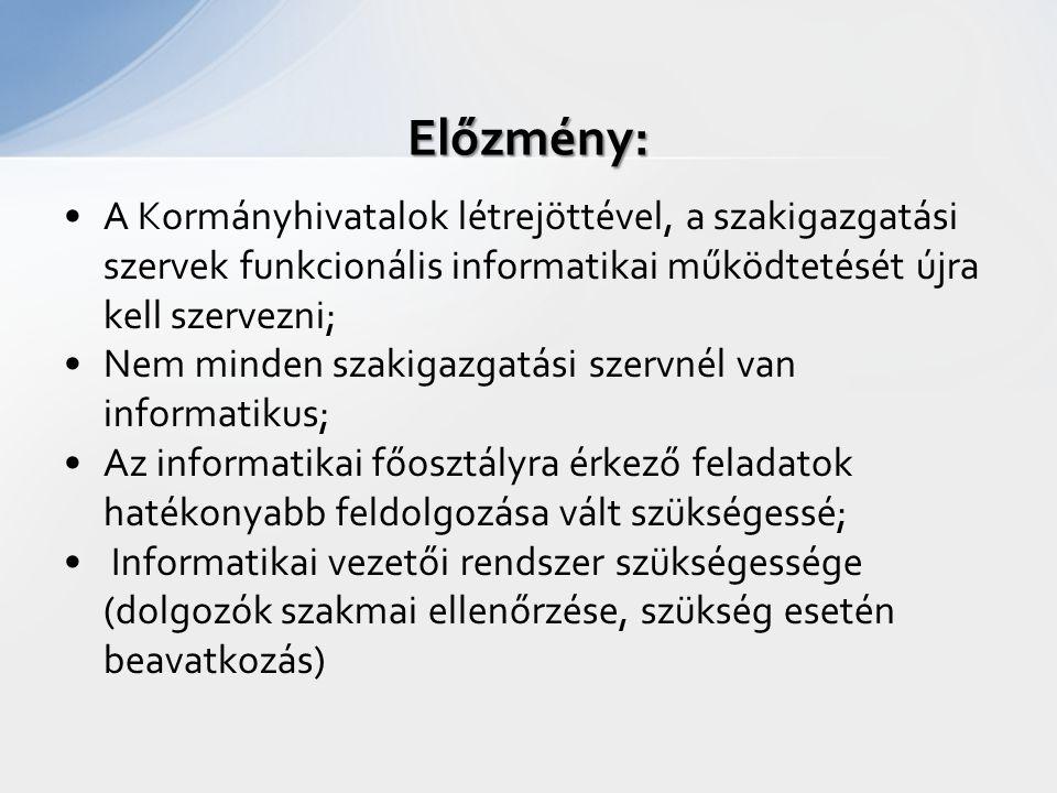 A Kormányhivatalok létrejöttével, a szakigazgatási szervek funkcionális informatikai működtetését újra kell szervezni; Nem minden szakigazgatási szerv
