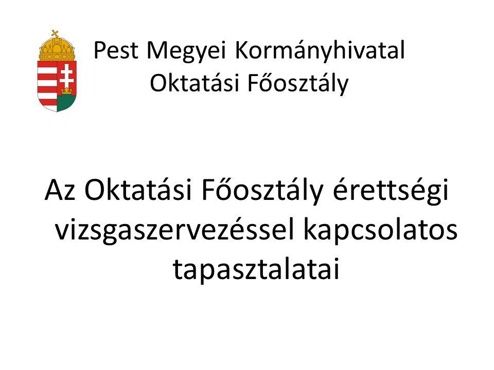 Pest Megyei Kormányhivatal Oktatási Főosztály Az Oktatási Főosztály érettségi vizsgaszervezéssel kapcsolatos tapasztalatai