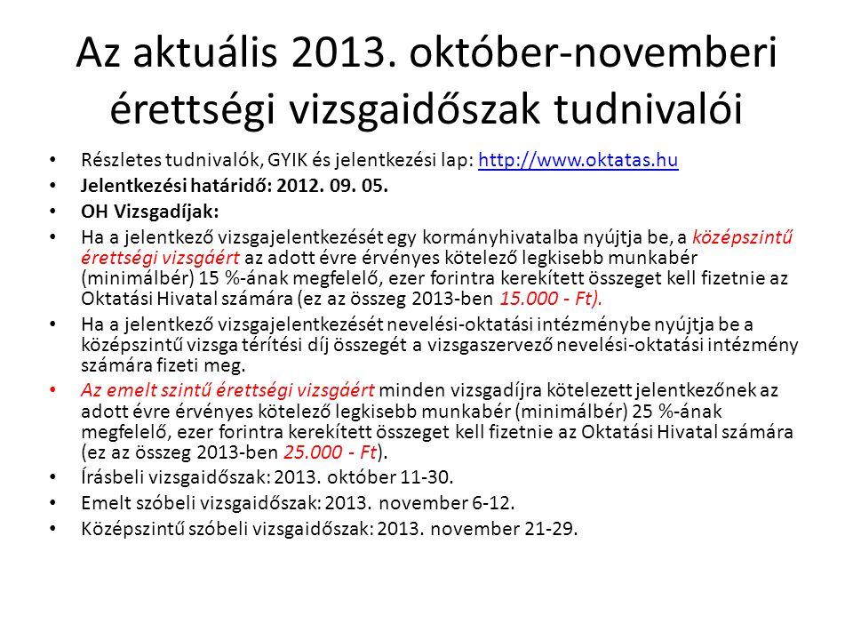 Az aktuális 2013. október-novemberi érettségi vizsgaidőszak tudnivalói Részletes tudnivalók, GYIK és jelentkezési lap: http://www.oktatas.huhttp://www