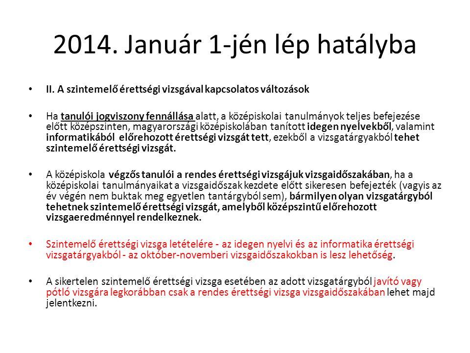 2014. Január 1-jén lép hatályba II. A szintemelő érettségi vizsgával kapcsolatos változások Ha tanulói jogviszony fennállása alatt, a középiskolai tan