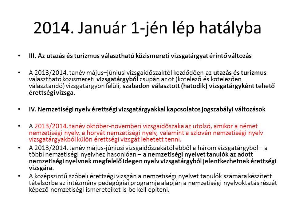 2014. Január 1-jén lép hatályba III. Az utazás és turizmus választható közismereti vizsgatárgyat érintő változás A 2013/2014. tanév május–júniusi vizs