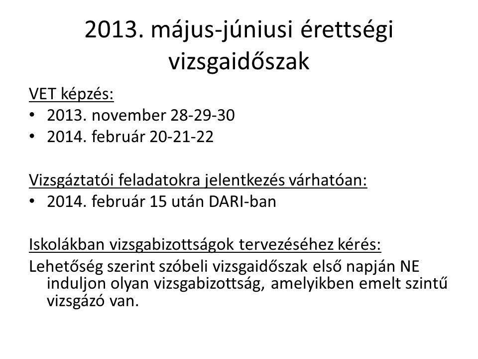 2013. május-júniusi érettségi vizsgaidőszak VET képzés: 2013. november 28-29-30 2014. február 20-21-22 Vizsgáztatói feladatokra jelentkezés várhatóan: