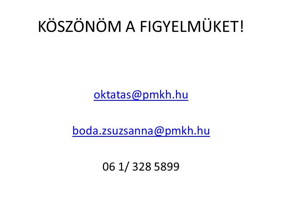 KÖSZÖNÖM A FIGYELMÜKET! oktatas@pmkh.hu boda.zsuzsanna@pmkh.hu 06 1/ 328 5899