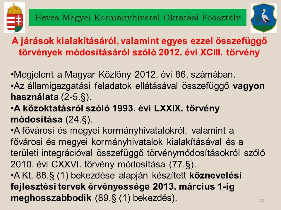 10 Heves Megyei Kormányhivatal Oktatási Főosztály A járások kialakításáról, valamint egyes ezzel összefüggő törvények módosításáról szóló 2012. évi XC