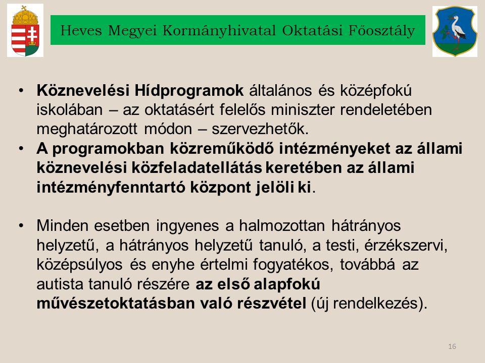 16 Heves Megyei Kormányhivatal Oktatási Főosztály Köznevelési Hídprogramok általános és középfokú iskolában – az oktatásért felelős miniszter rendeletében meghatározott módon – szervezhetők.