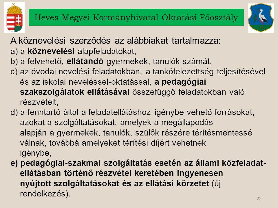 22 Heves Megyei Kormányhivatal Oktatási Főosztály A köznevelési szerződés az alábbiakat tartalmazza: a) a köznevelési alapfeladatokat, b) a felvehető,