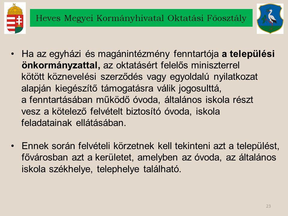 23 Heves Megyei Kormányhivatal Oktatási Főosztály Ha az egyházi és magánintézmény fenntartója a települési önkormányzattal, az oktatásért felelős mini