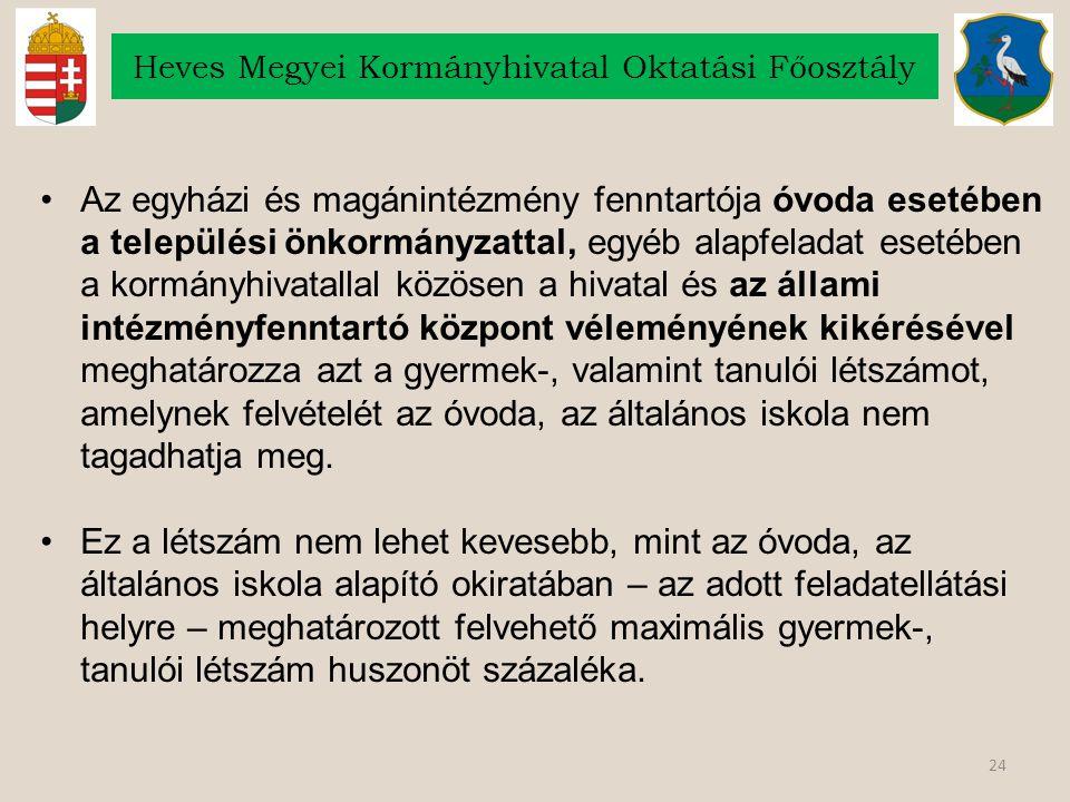 24 Heves Megyei Kormányhivatal Oktatási Főosztály Az egyházi és magánintézmény fenntartója óvoda esetében a települési önkormányzattal, egyéb alapfela