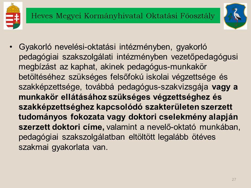 27 Heves Megyei Kormányhivatal Oktatási Főosztály Gyakorló nevelési-oktatási intézményben, gyakorló pedagógiai szakszolgálati intézményben vezetőpedag
