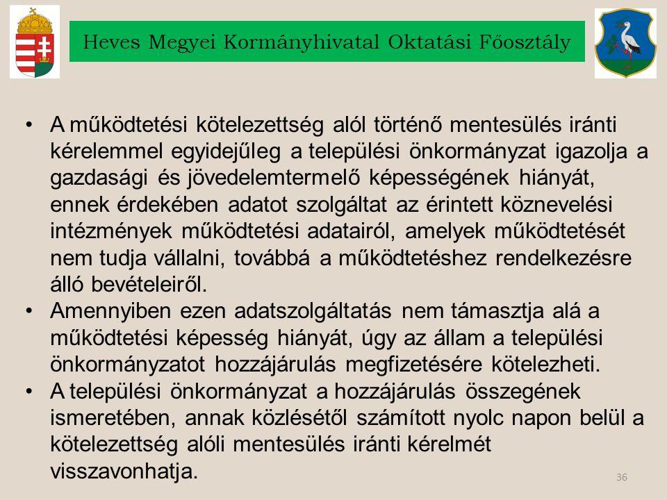 36 Heves Megyei Kormányhivatal Oktatási Főosztály A működtetési kötelezettség alól történő mentesülés iránti kérelemmel egyidejűleg a települési önkor
