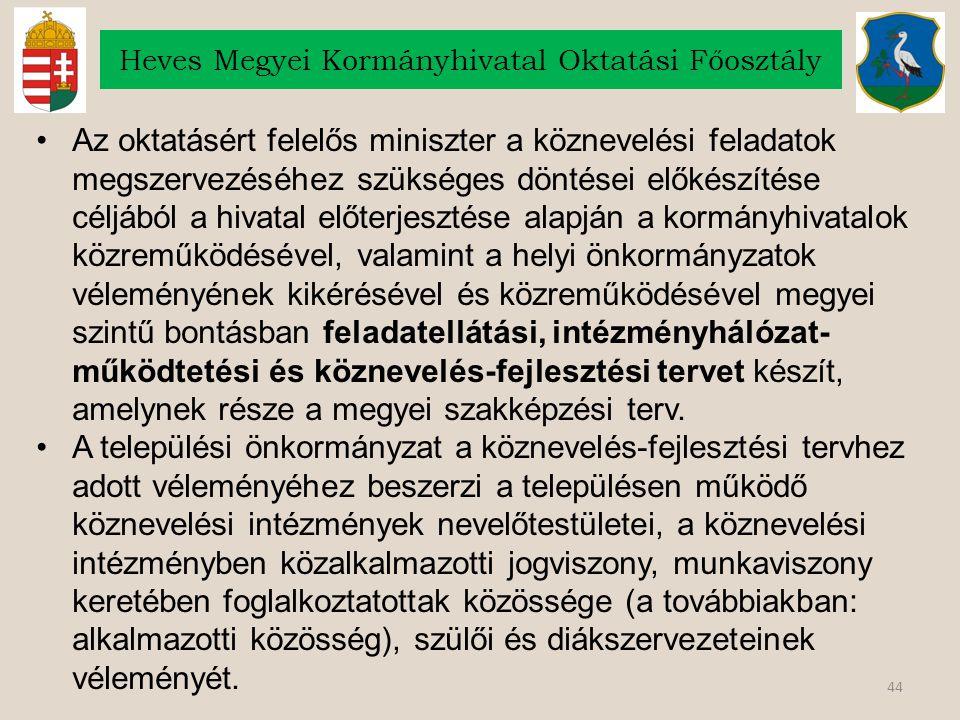 44 Heves Megyei Kormányhivatal Oktatási Főosztály Az oktatásért felelős miniszter a köznevelési feladatok megszervezéséhez szükséges döntései előkészí